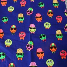 100% Cotton Happy Face Print on Royal Blue Fabric x 0.5m